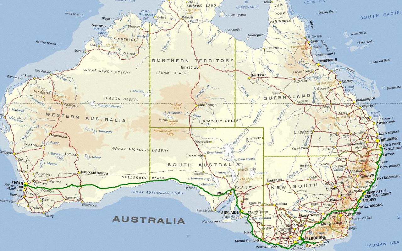 Susi Ruedi on tour Australia 2007 – Gold Coast Australia Map
