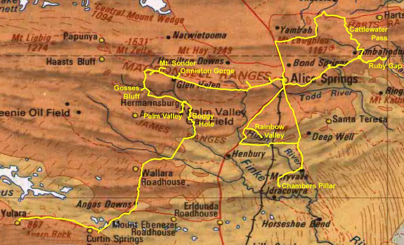 Macdonnell Ranges Map Leg map  click to enlarge inMacdonnell Ranges Map
